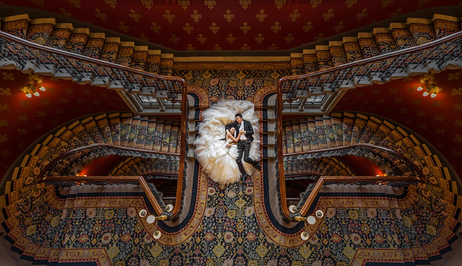 wedding couple staircase