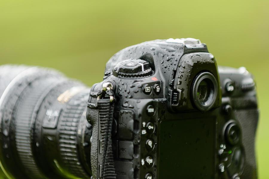 camera body with rain drops
