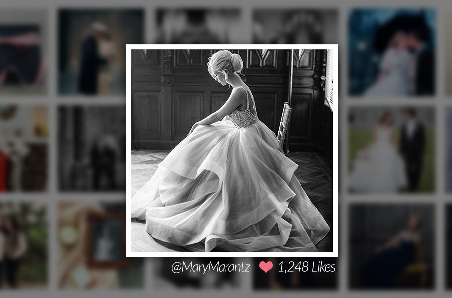 Justin and Mary Marantz Black and White Bride Image on Instagram