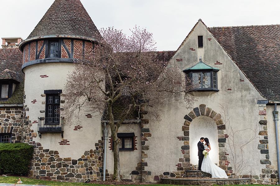 bride and groom doorstep