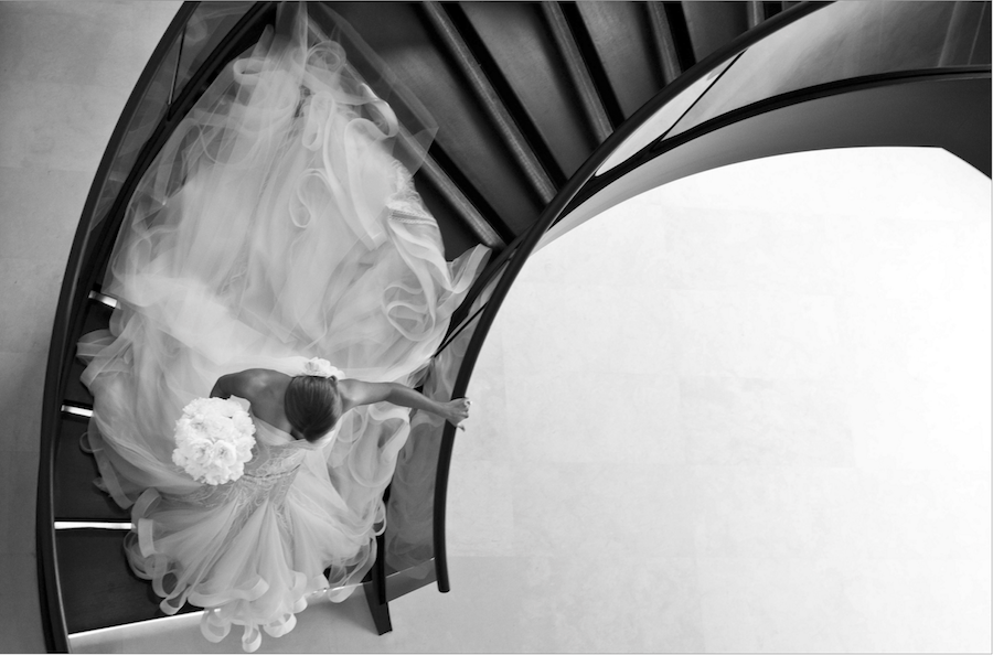 black and white bridal image