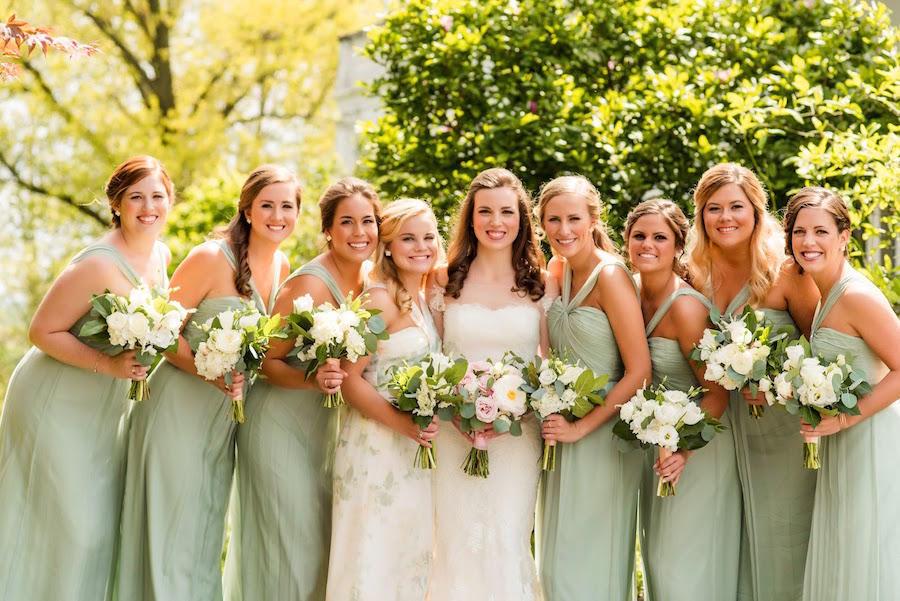 wedding party bridesmaids backlight