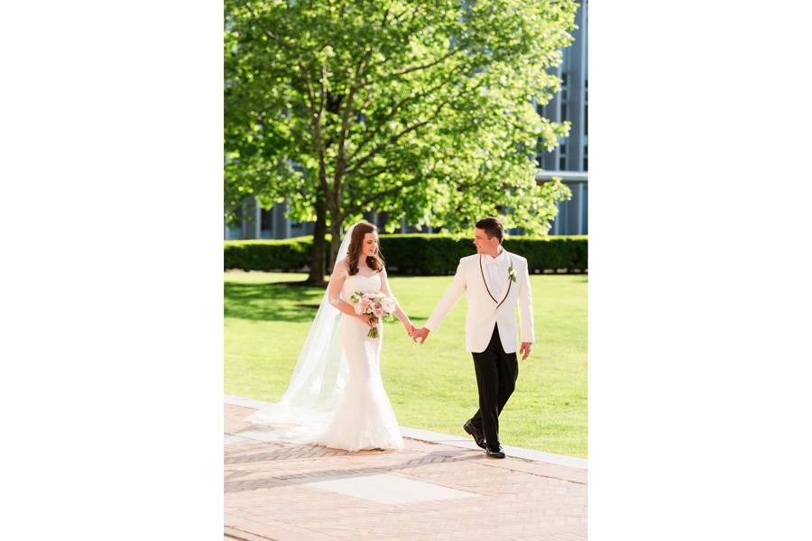 outdoor lighting bride and groom