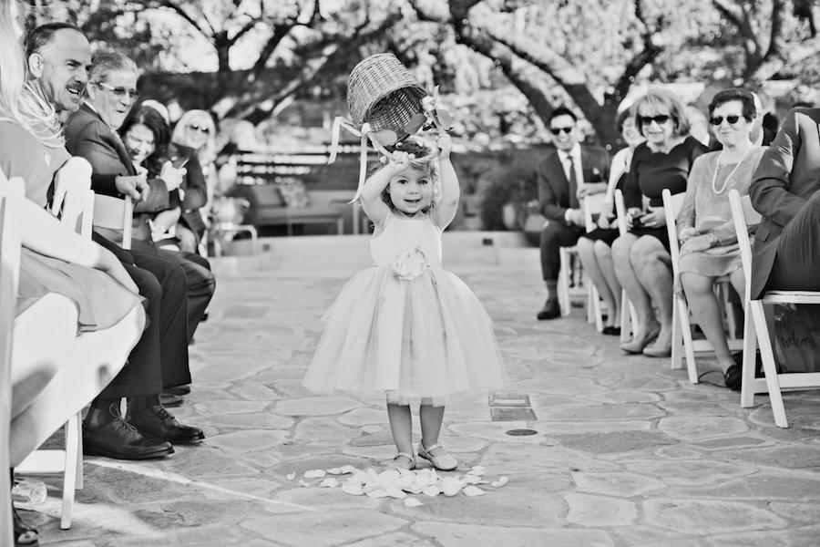 black and white flower girl