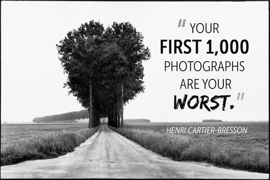 A Henri Cartier-Bresson photography quote and image of a long road with grass on the side leading to a row of symmetrical trees.