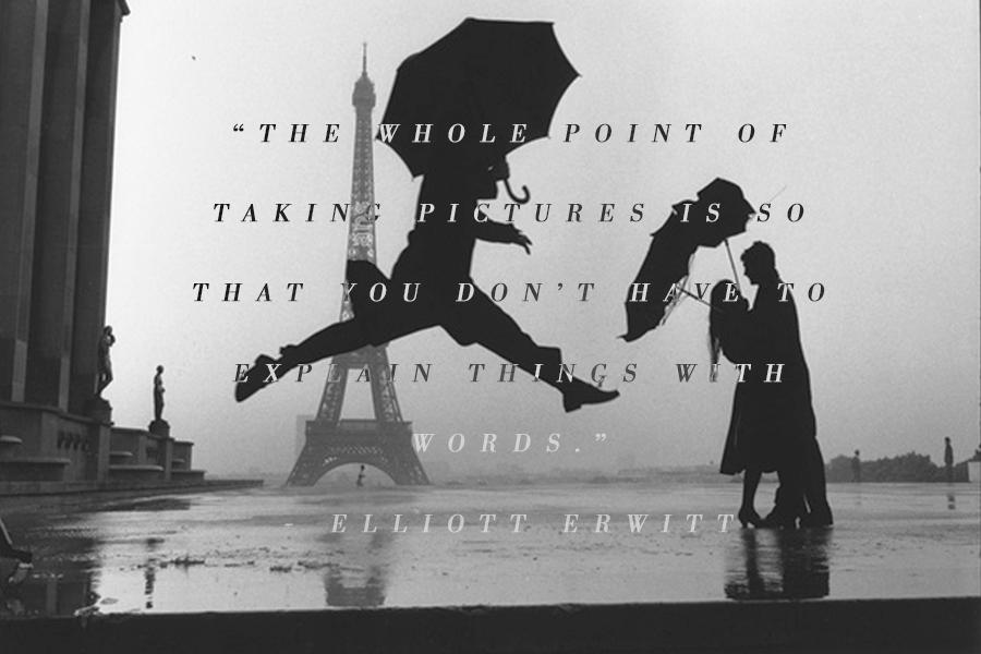 An Elliott Erwitt quote on a black and white photo of man jumping with umbrella in the rain, while a couple embraces under two umbrellas and with the Eiffel Tower in the background.