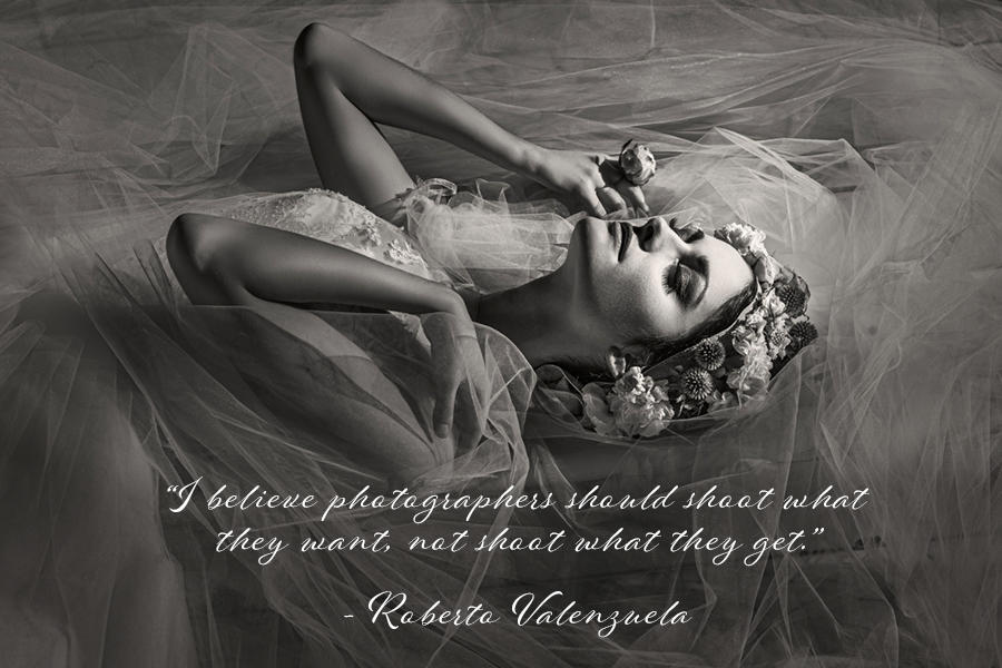 Roberto Valenzuela's quote about shooting wedding photography on an image of the bride on the floor with her veil surrounding her.