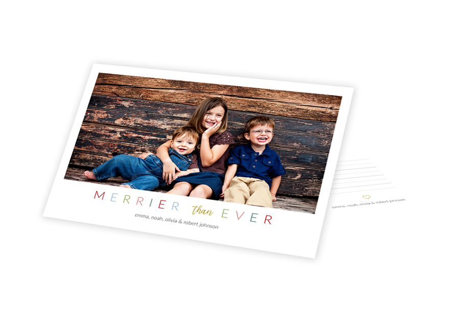 Two holiday card templates on top of one another in a design that says Merrier than Ever.