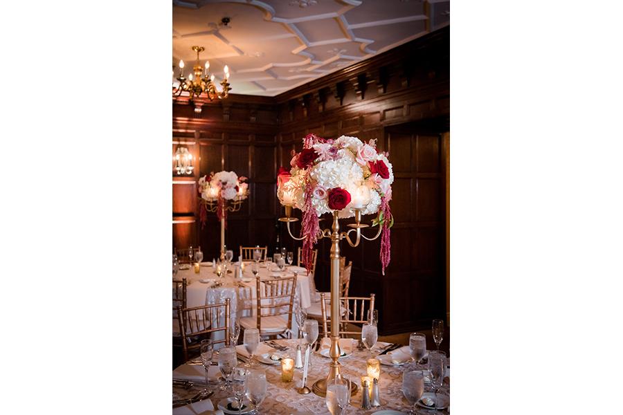 reception bouquet table shots
