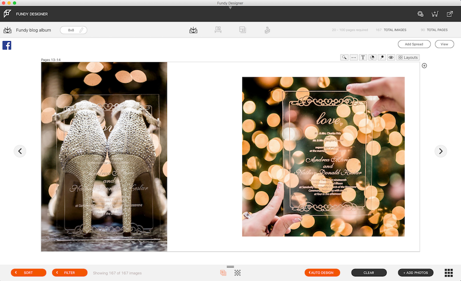 Two wedding photos side by side in Fundy Software's album design tool.