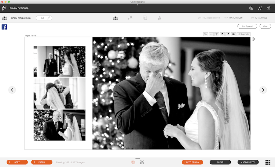 Four black and white wedding images on a screen in Fundy Software's wedding album design platform.