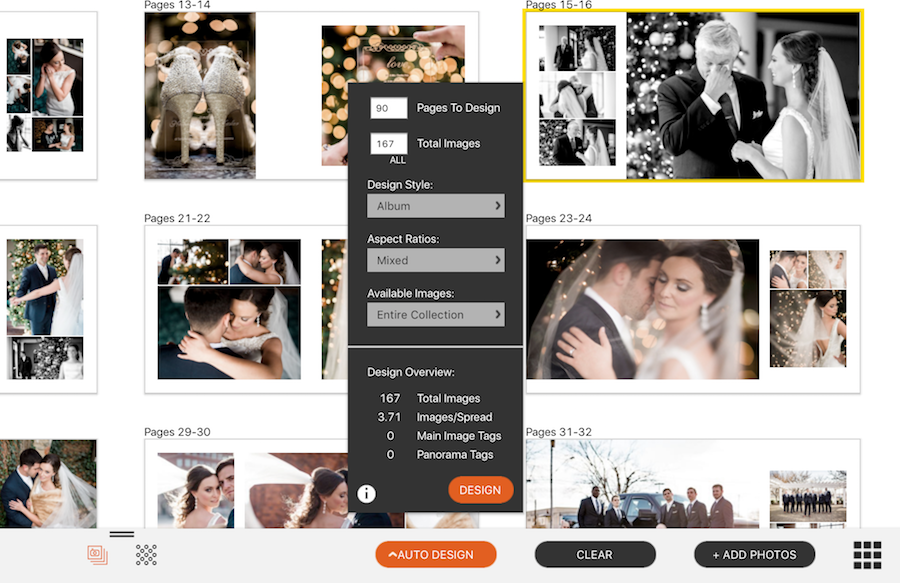 Wedding images in Fundy Software's album design program.