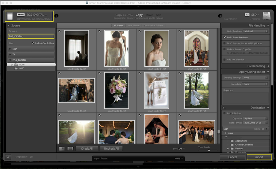 import images lightroom