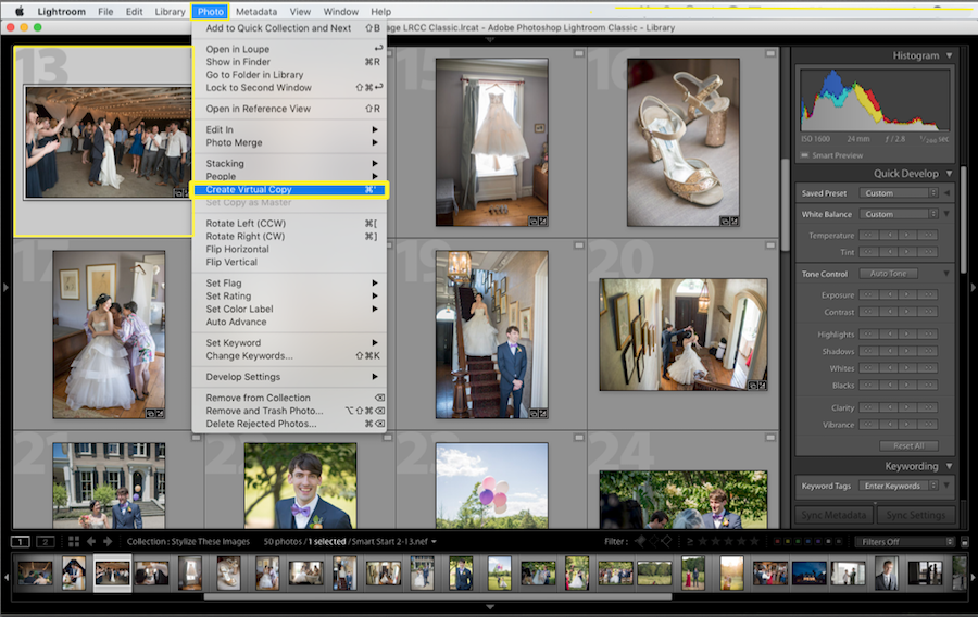 how to create virtual copy in lightroom