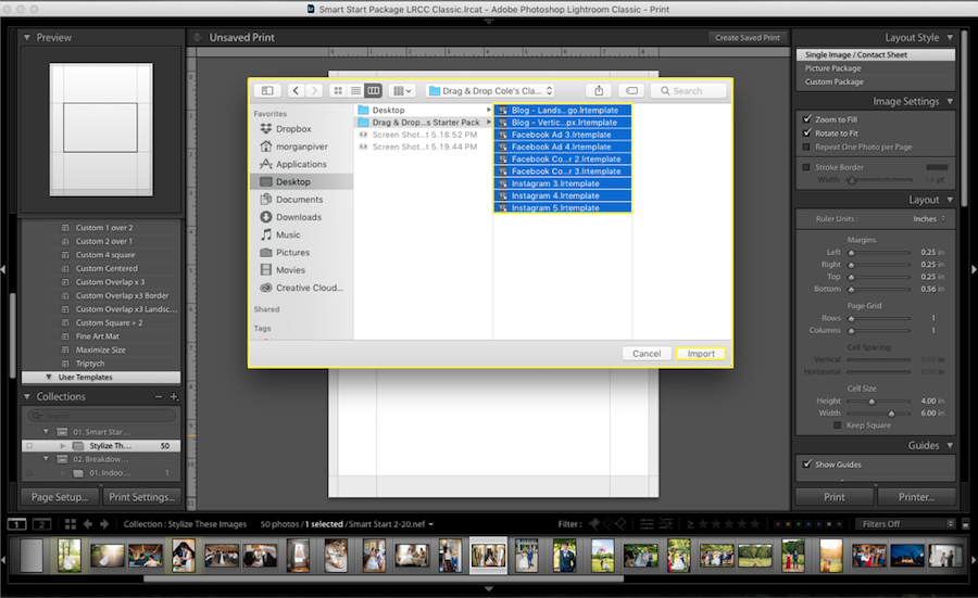 lightroom collage template files import