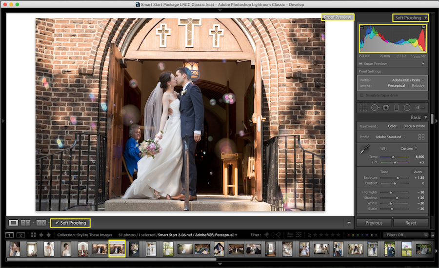 adjust image histogram lightroom soft proofing