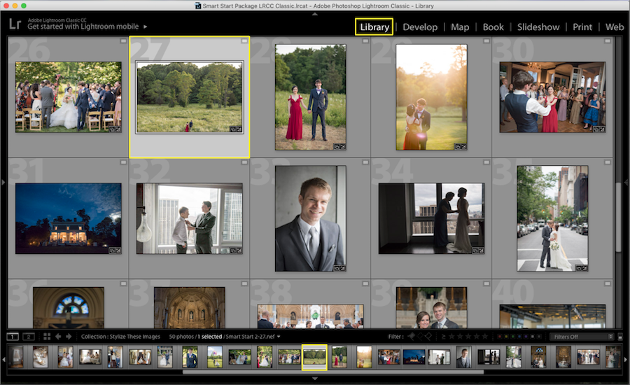 lightroom library mode selected image