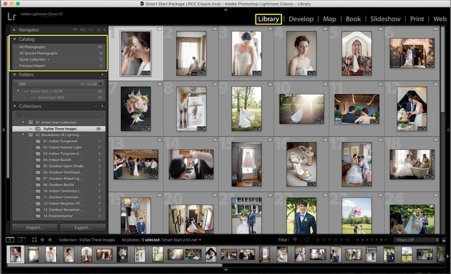 organize photos lightroom catalog