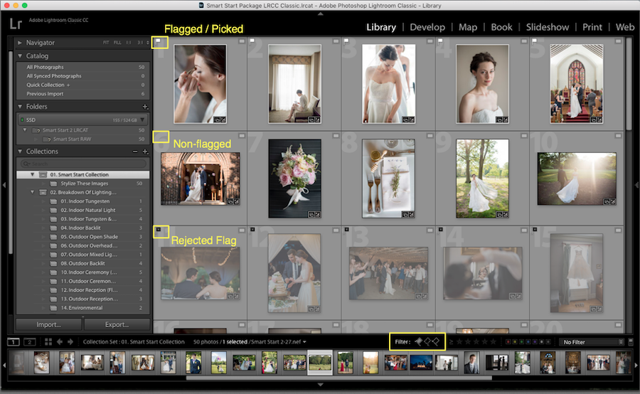 flagged label lightroom organize