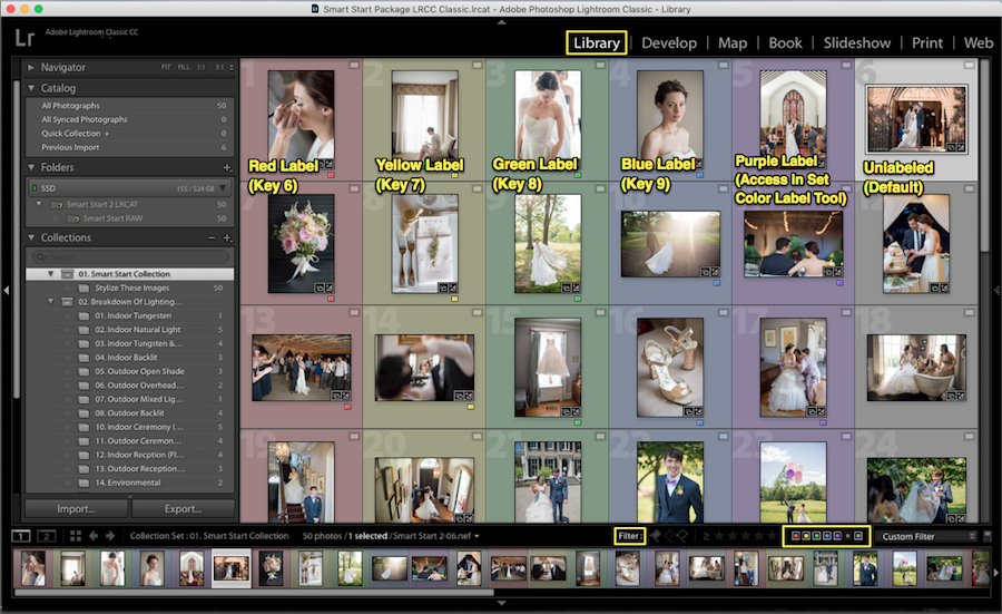 organize lightroom photos color label