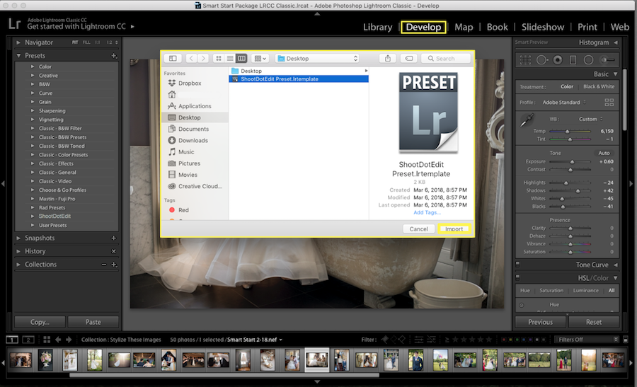 lightroom preset import