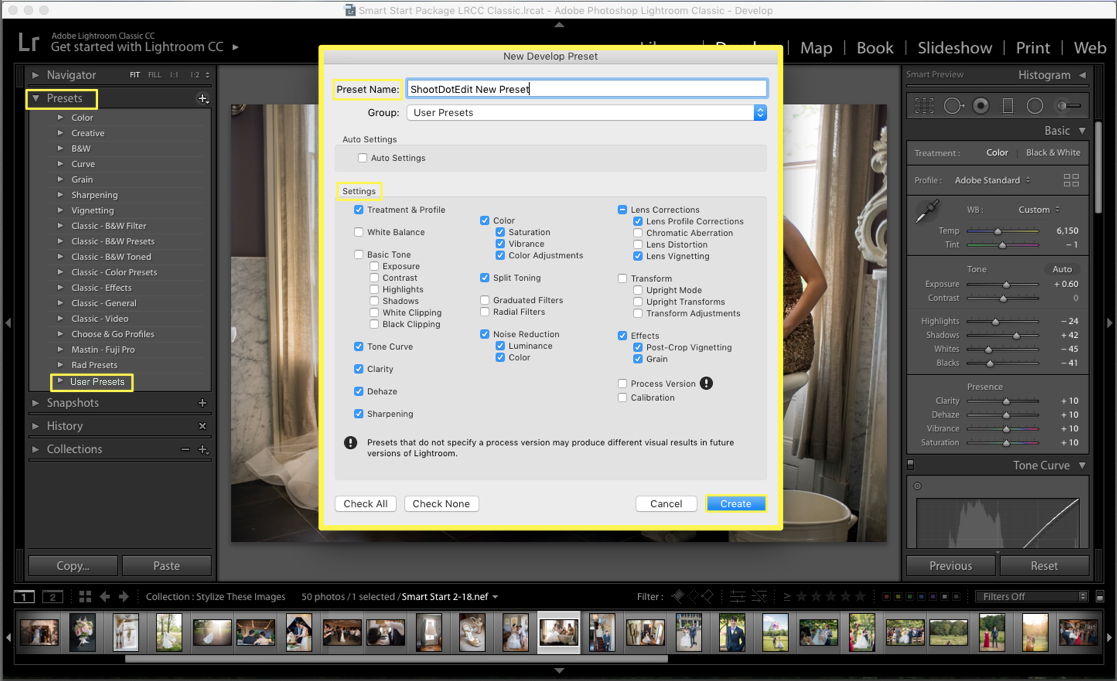 lightroom preset settings