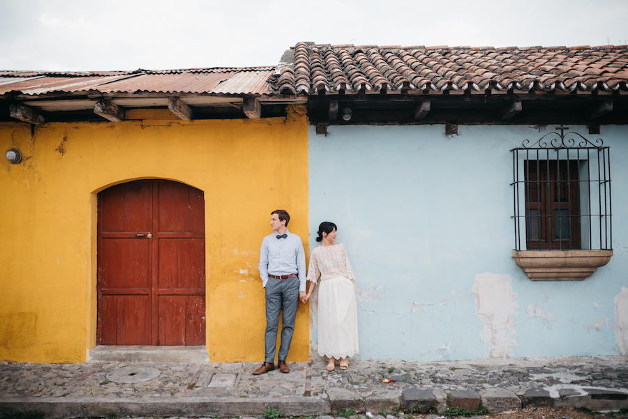 engagement shoot multi-colored buildings