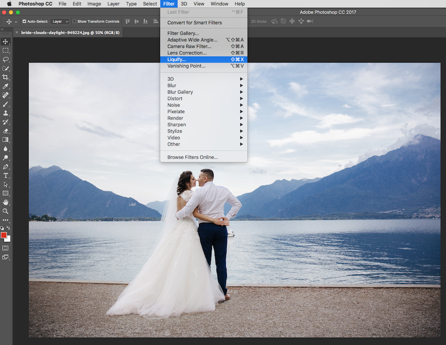 filter menu highlight liquify tool