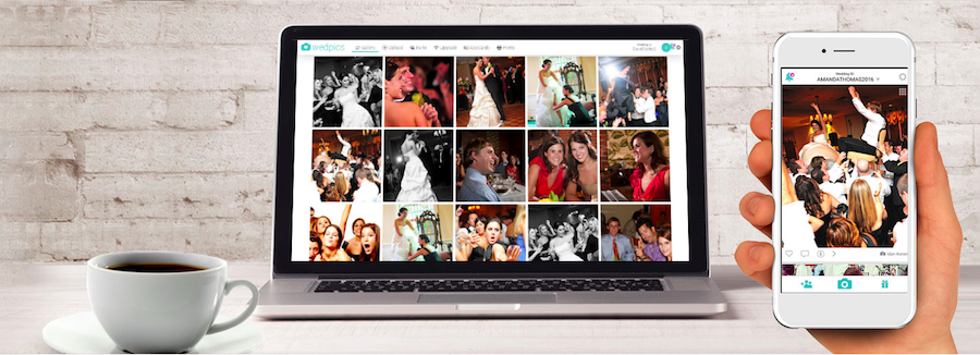 A screenshot of WedPics' desktop version and mobile app.