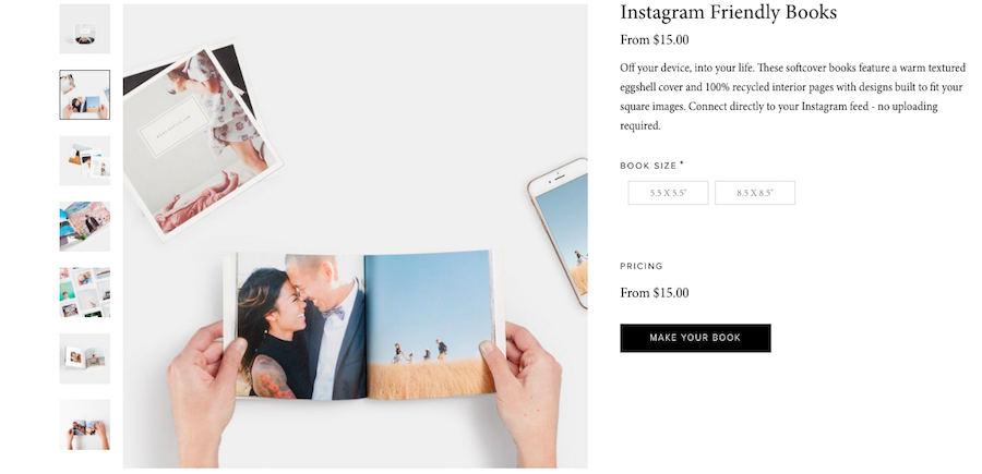 An overview of Instagram Friendly Books by Artifact Uprising that shows a person's hands holding a photo book that has a couple photo on the left and a family session photo on the right.
