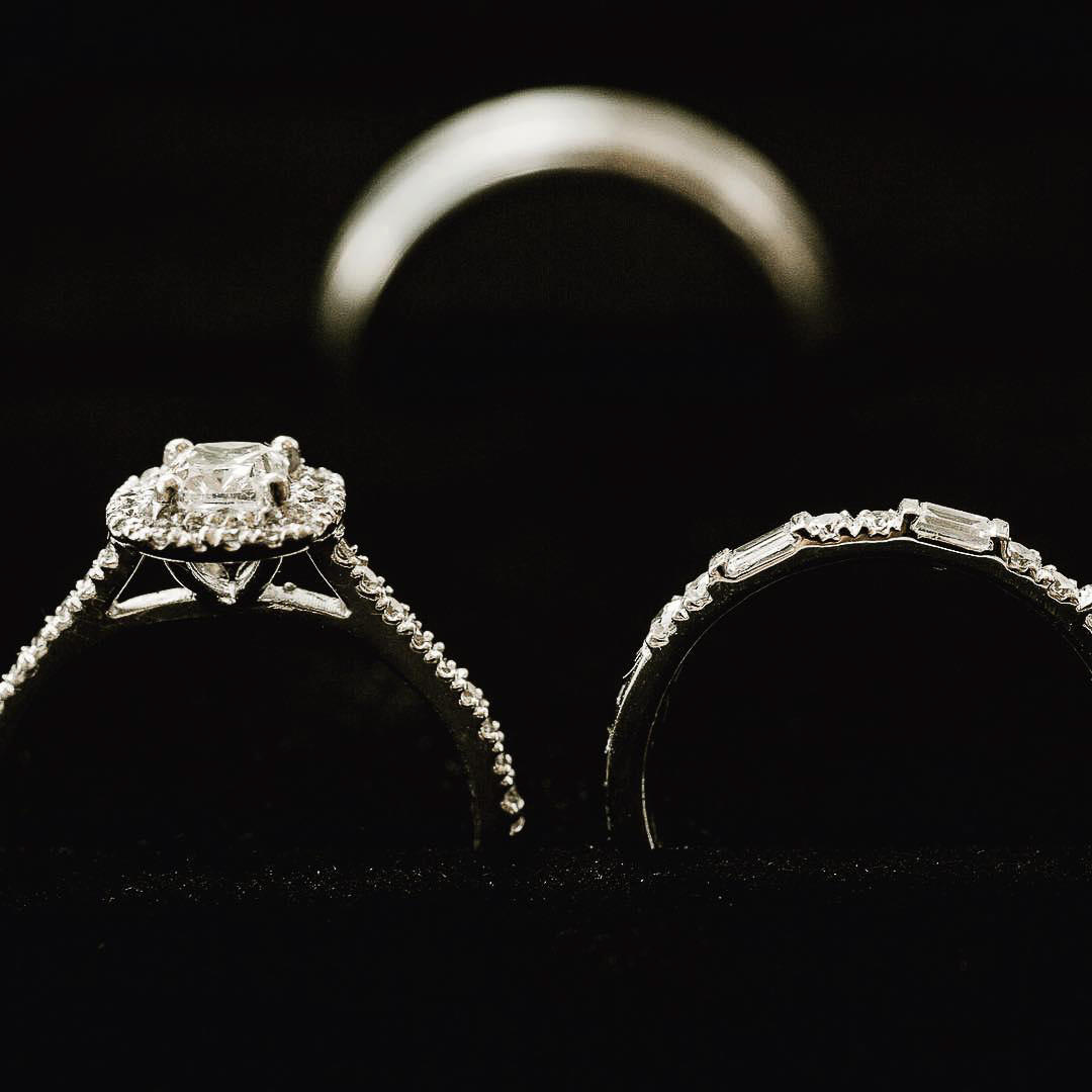 Close-up shot of two wedding rings with a blurred background