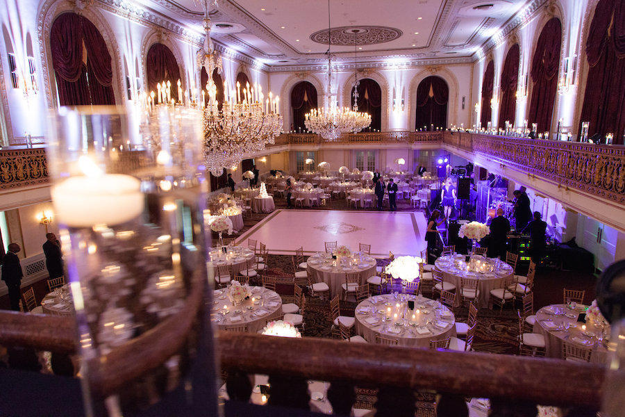 An overview of a wedding reception hall by Leeann Marie, Wedding Photographers.