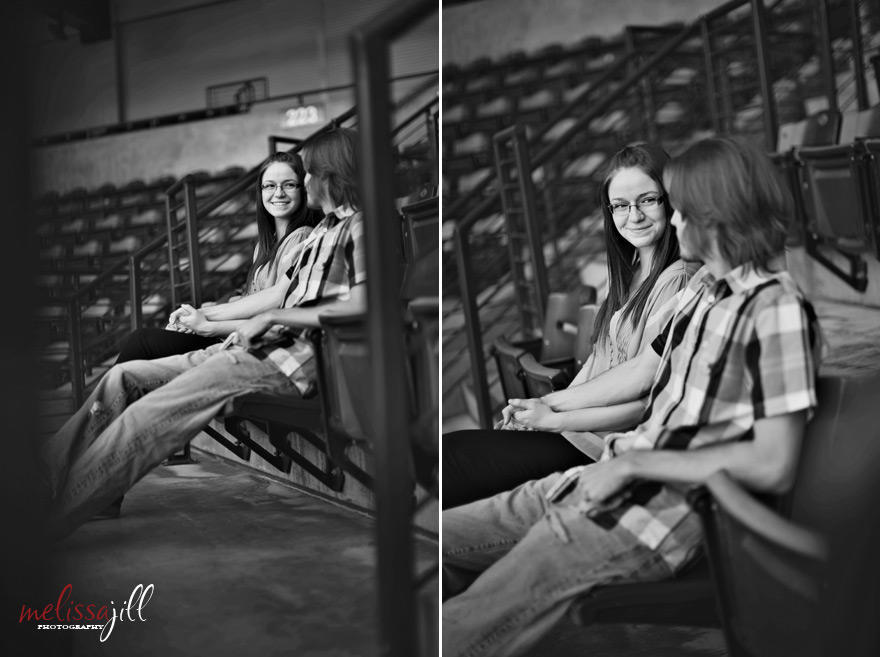 Two black and white engagement session images side by side, with the couple sitting in chairs in a ballpark.