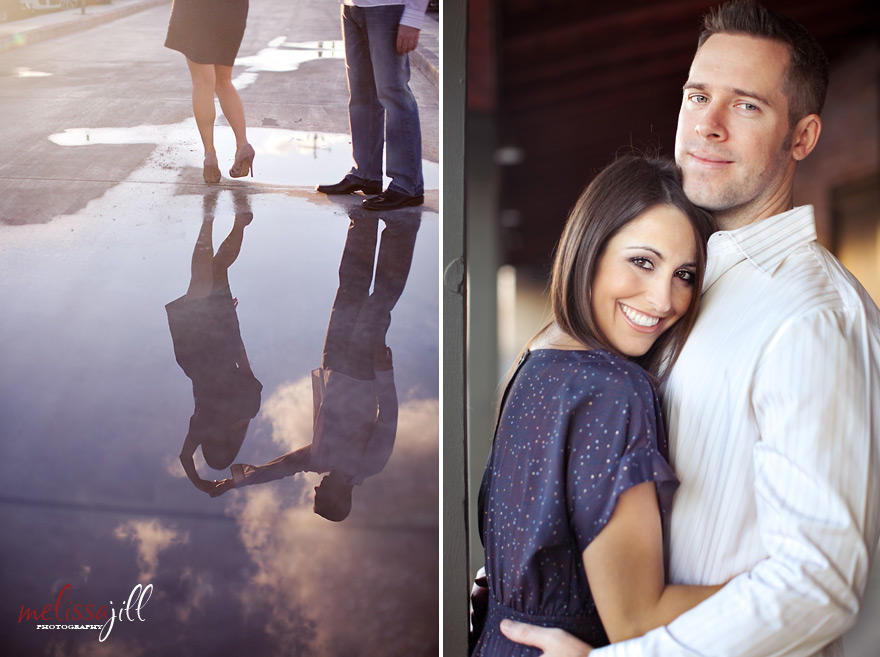Two images side by side of an engagement session, with the left image of a reflection in a puddle of the couple.