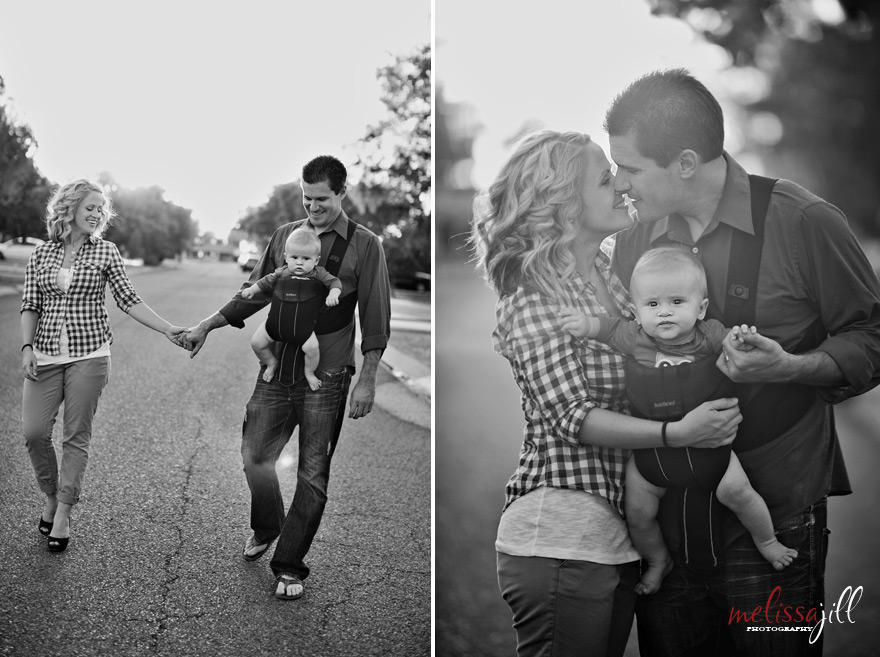Two black and white family photography portraits with two adults and a baby.