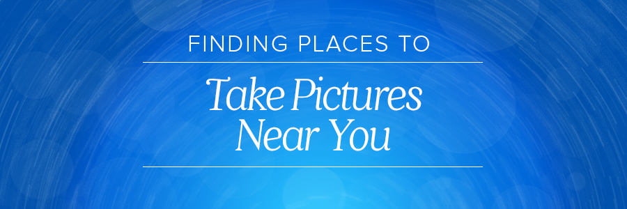 Graphic displaying places to take pictures near me/you