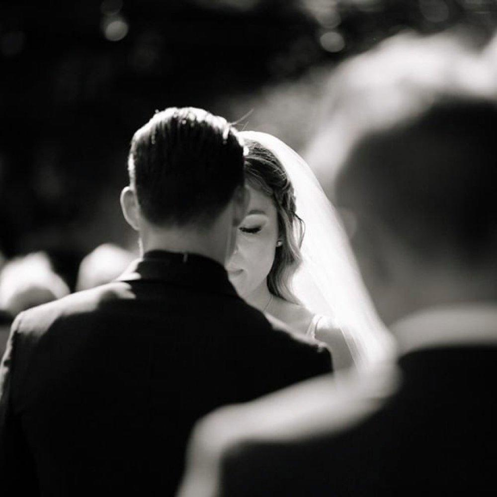 A black and white portrait of the bride and groom captured by Michelle Walker