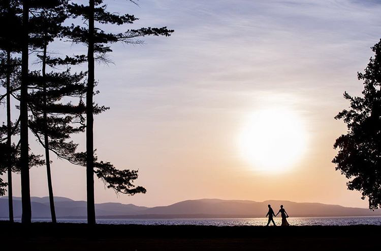 A silhouette of a couple walking and holding hands - ideal image for a holiday album