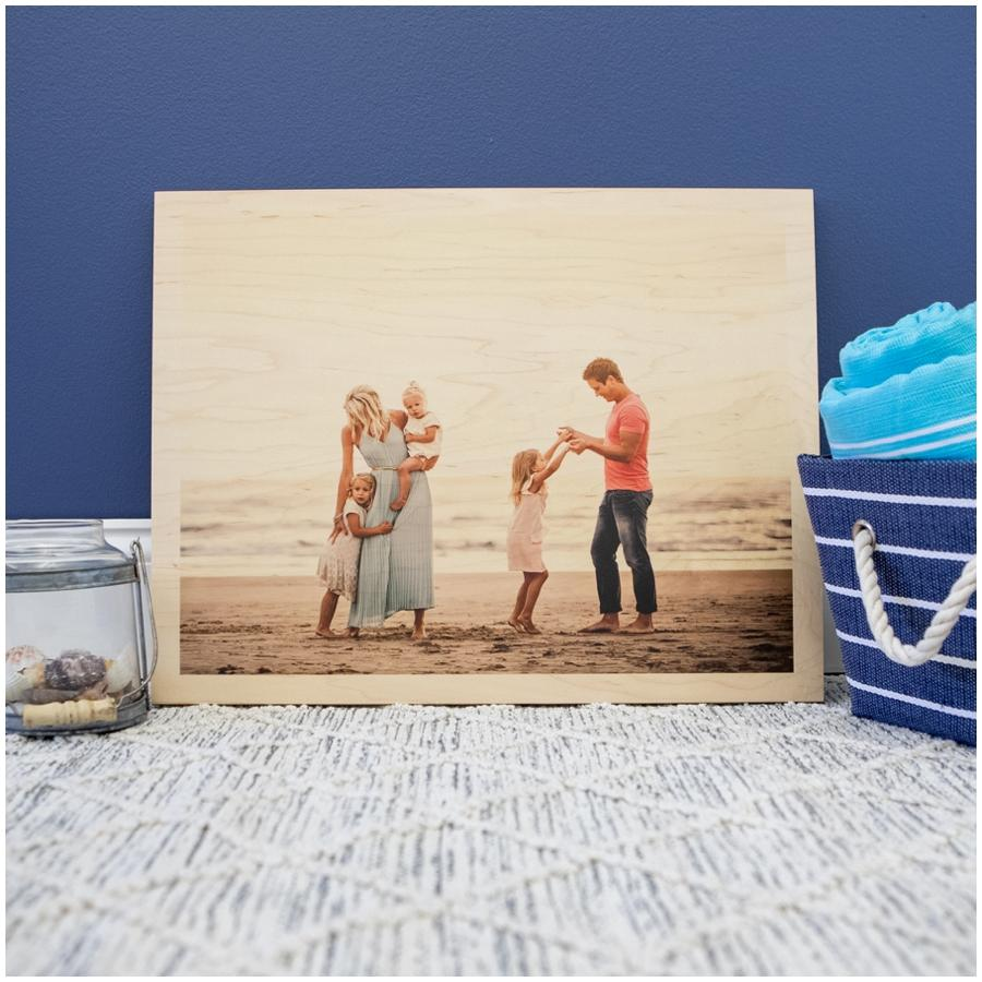 WHCC Wood Print showing a family at the beach.