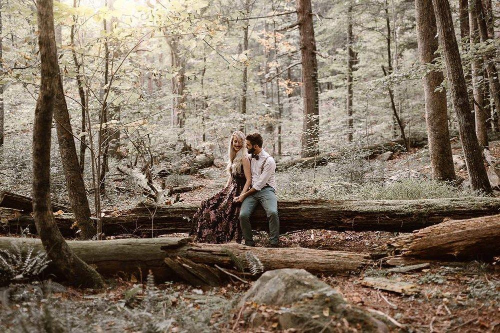 A photo of a couple sitting on a log amidst a forest shot by Erin Morrison, a wedding photography expert