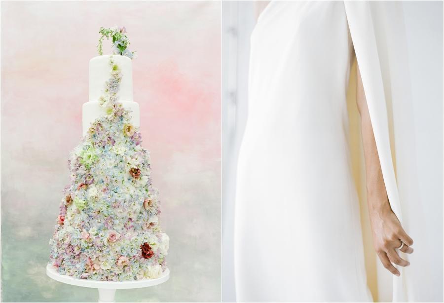 elaborately designed wedding cake and close up of bride's hand