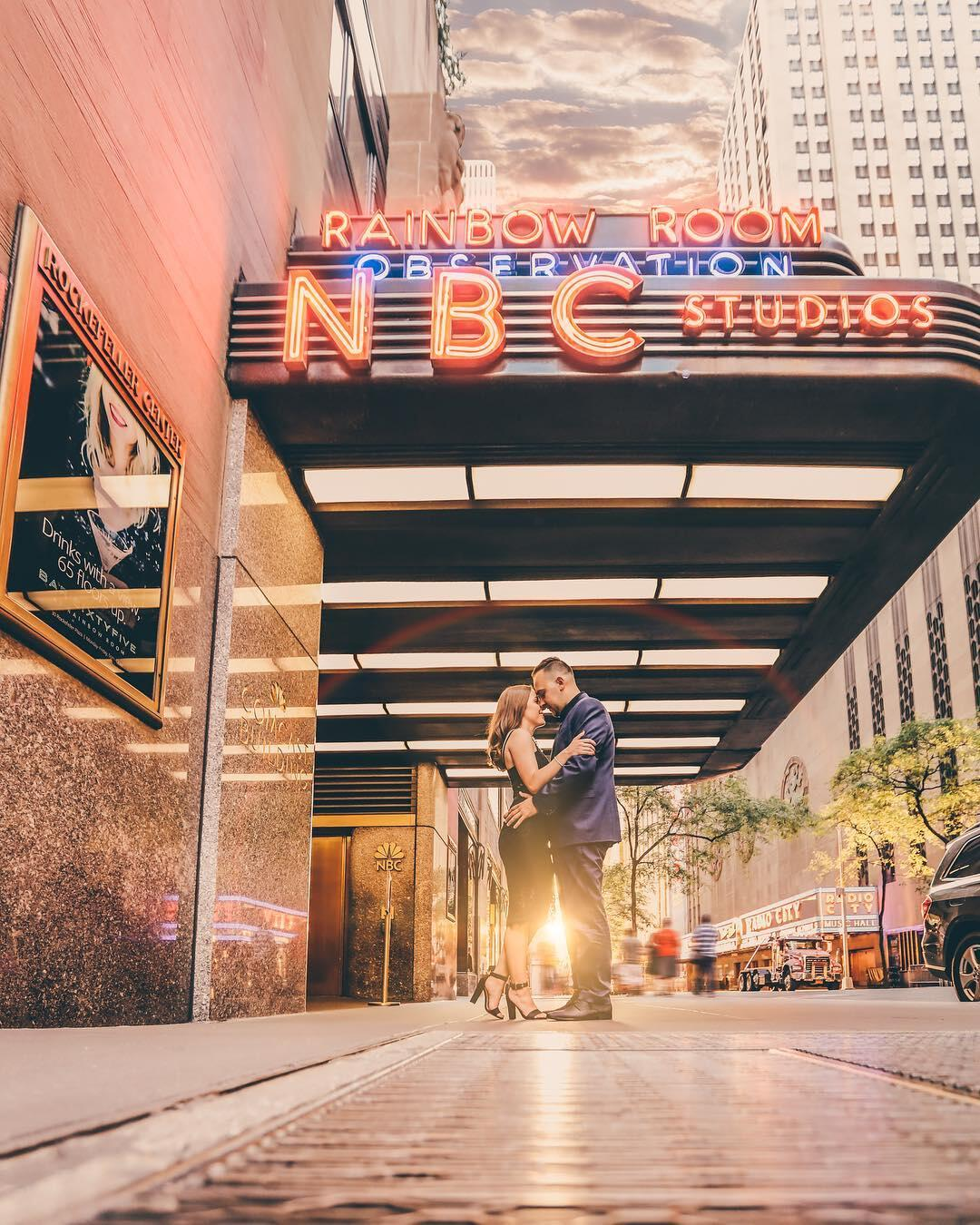 engagement session outside the rainbow room and nbc studios in new york city