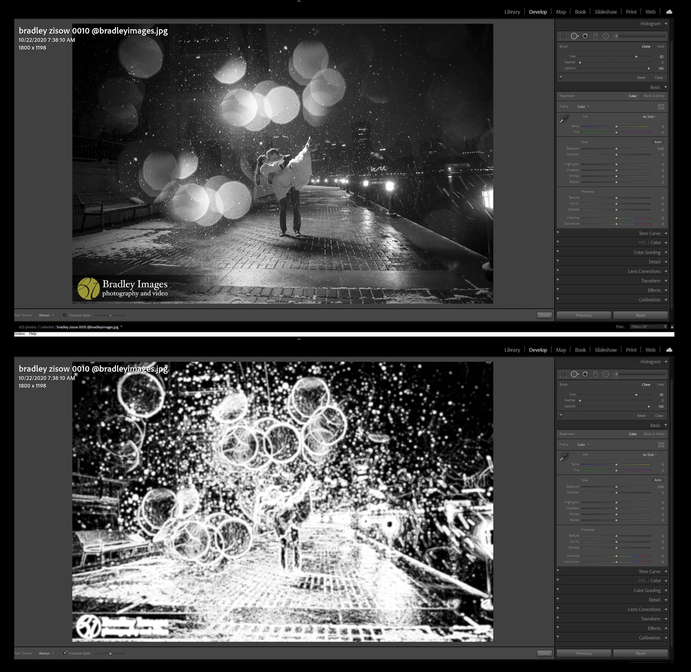 before and after visualize spots tool in lightroom for removing dust spots