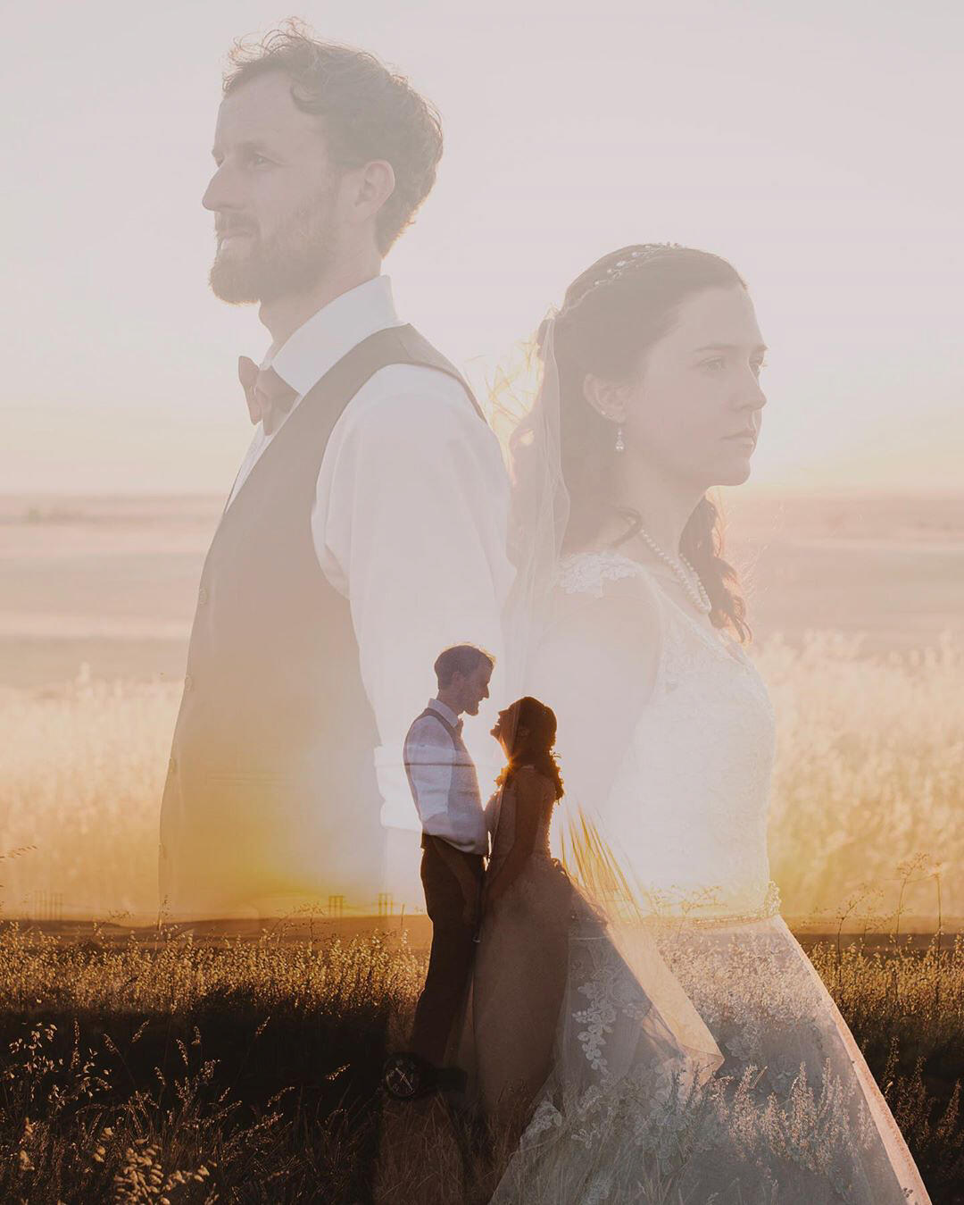 double exposure of couple in field wearing wedding clothes