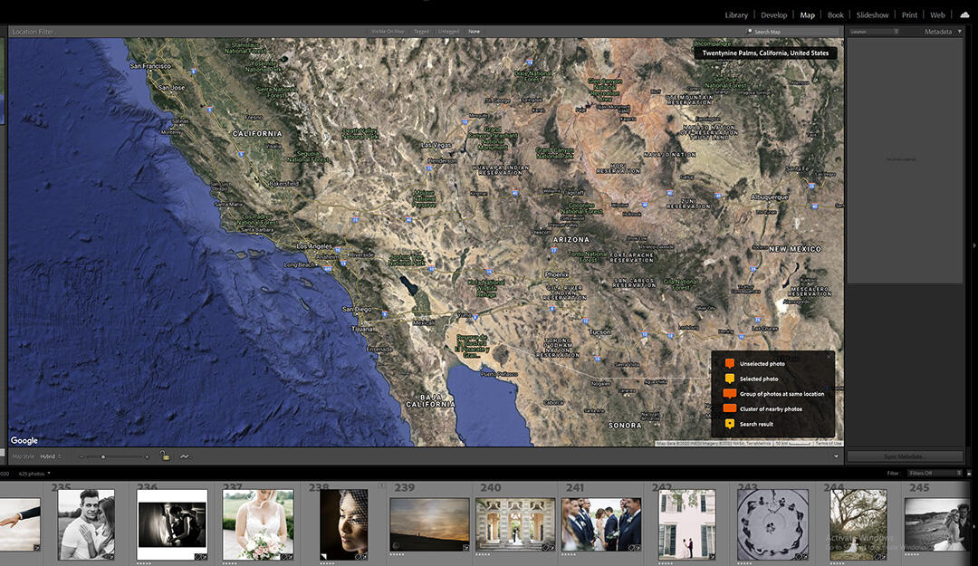 select photos from map in lightroom