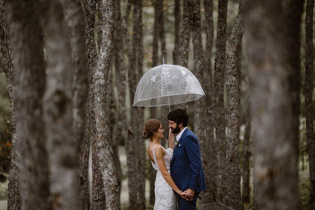 couple standing under umbrella in forest