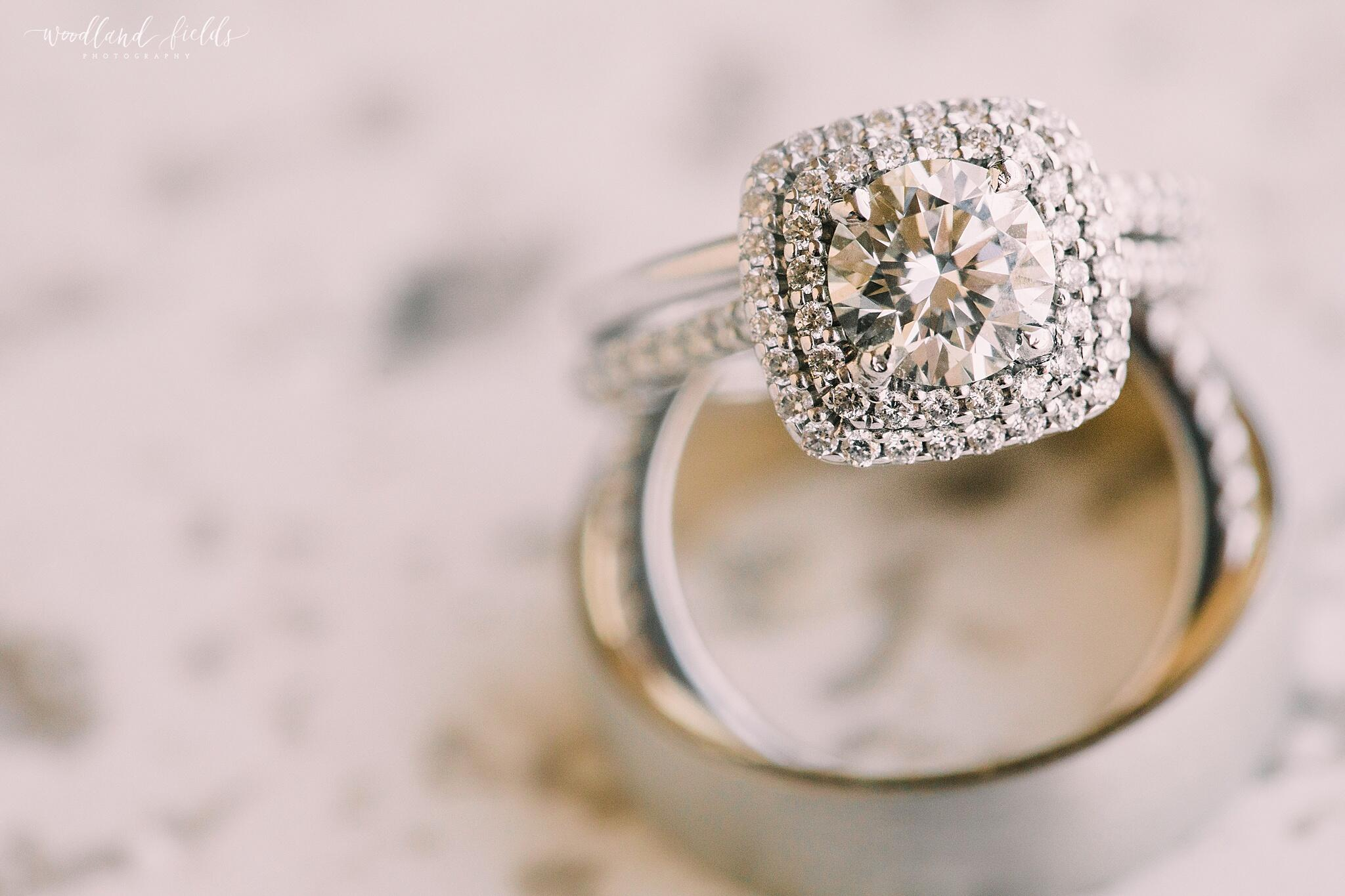 Close-up shot of a diamond engagement ring