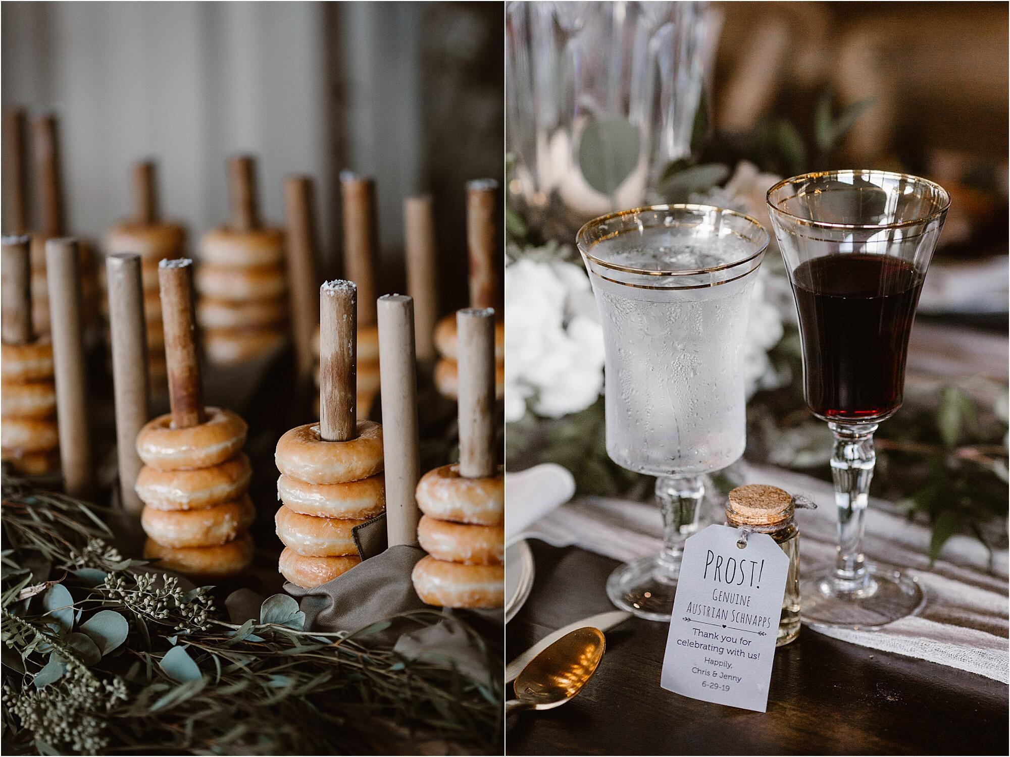 Wedding dessert table detail photos featuring bagels & wine glasses