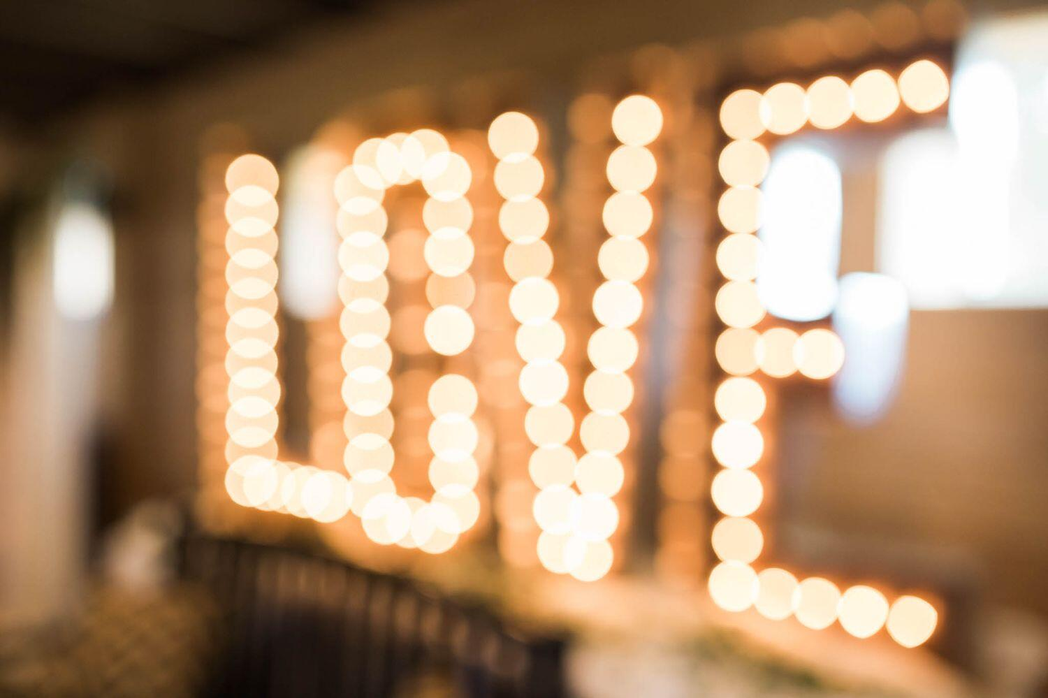 LED Letter Lights displaying - LOVE - in bokeh