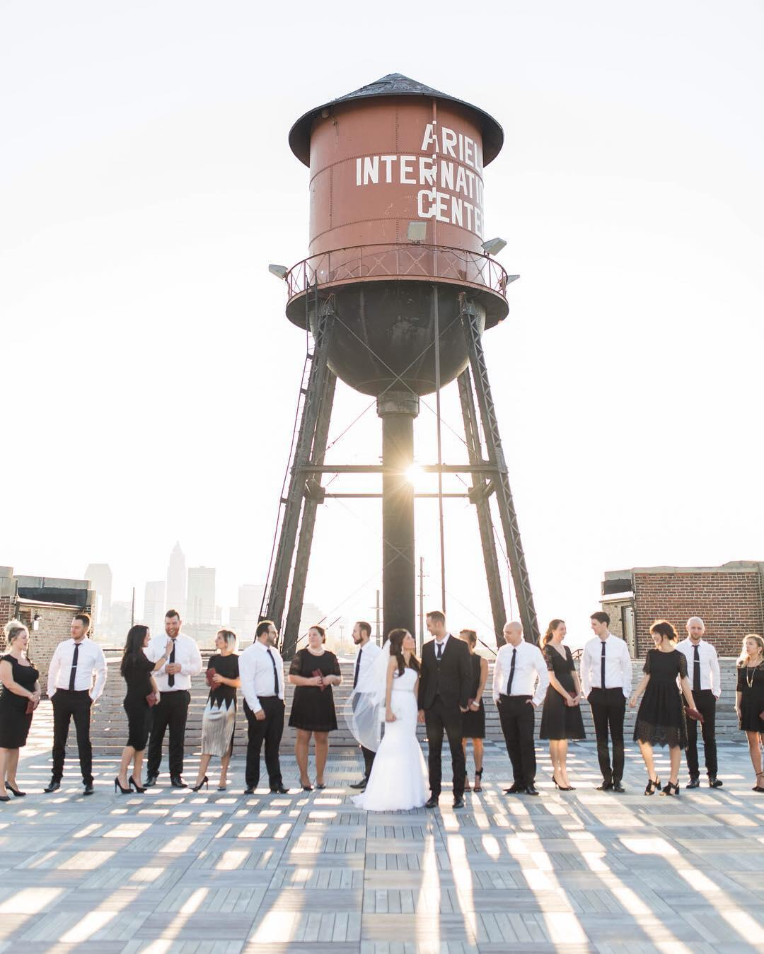The bride & groom posing alongside the bridesmaids and groomsmen